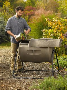 Compost Tumbler: Two-Batch Bin Made of Recycled Plastic | Gardeners.com