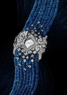 Cartier - Secret Watch - White Gold - Sapphire Beads & Diamonds