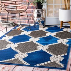 nuLOOM Indoor/ Outdoor Nautical Ropes Porch Blue Rug (8' x 10') (Blue), Size 8' x 10' (Plastic, Abstract)