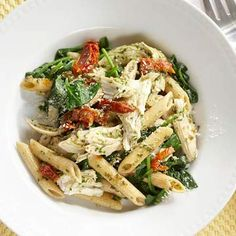 Lemon-Garlic Chicken Penne with Pesto and Spinach - Make your own pesto!  Plan ahead and enjoy the flavors!