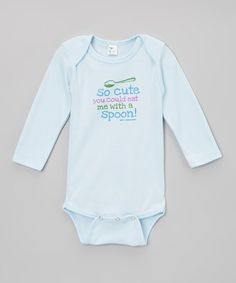 Take a look at this Light Blue 'So Cute' Bodysuit - Infant by Biased, Baby on #zulily today!