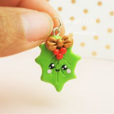 Christmas Mistletoe Kawaii Charm Polymer Clay Handmade Jewelry by Sweet Clay Creations