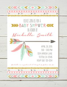 Tribal Shower or birthday Invitation pink mint gold by BelvaJune