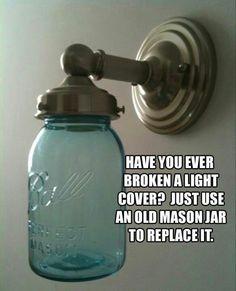 genius ideas 28 Mason Jar as light cover Do It Yourself Furniture, Do It Yourself Home, Mason Jar Lighting, Mason Jar Lamp, Diy Projects To Try, Home Projects, Spring Projects, Genius Ideas, Amazing Ideas