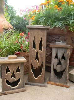 Wood lantern made with rustic worn wood Jack-O-Lantern for