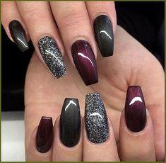 Black Nail Designs, Winter Nail Designs, Acrylic Nail Designs, Nail Art Designs, Acrylic Nails, Burgundy Nail Designs, Nails Design, Black Nail Art, Black Nails