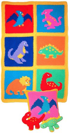 Darling Dinosaur Set for your child! Includes afghan, pillow and 2 Dino Pets!