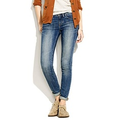 Desert boots with cuffed jeans. @Libby MG, you could pull this off with flats...I need a heel!
