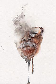 Beautiful watercolor portraits - Sunga Park via Behance