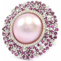 Ri Noor - Pink Pearl with Ruby & Diamond Ring (£3,365) ❤ liked on Polyvore featuring jewelry, rings, pink ring, 14k ruby ring, 18k diamond ring, 14k bangle bracelet and pearl diamond ring