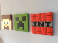 Minecraft 3 piece set canvas by Katzkanvas on Etsy