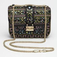 Valentino Crystal Embellished Glam Lock Shoulder Bag