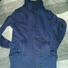 Navy blue fuzzy sweater Button up or zipper navy blue warm,  cozy,  fuzzy sweater. Super cute with jeans,boots and a scarf. SO Sweaters