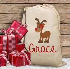 Girls Reindeer Christmas Sack  Fun Santa Bag by getthepartystarted