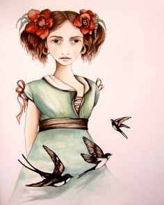 Girl with swallow art print decor by Claudia Tremblay