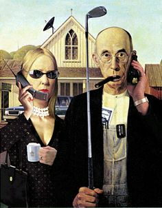American Gothic Couple Talking on their Cellphone