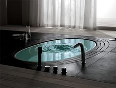 Wow. Amazing Tub Sunken Bathtub, Whirlpool Bathtub, Jacuzzi, Stone Bathtub, Beautiful Bathrooms, Dream Bathrooms, Modern Bathroom, Modern Bathtub, Bathtub Dream