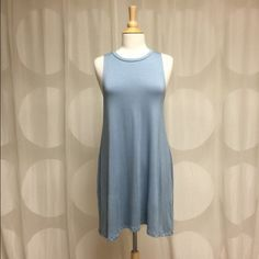 •SALE! NEW LISTING! Dusty blue dress• This dusty blue swing dress is so adorable for the spring/summer. So soft and comfortable! Get yours now! ☺️                            96% Rayon      4% Spandex      •Receive a free gift and scratch-off coupon with purchase!• Dresses