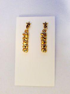 Peace word earrings Christmas gift idea grab by JeriAielloartstore