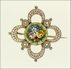 Antique Micro-Mosaic Floral Pin - Italy