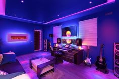 Pc Gamer, Gamer Room, Music Studio Room, Studio Setup, Dj Setup, Led Light Strips, Led Strip, Basement Games, Basement Ideas