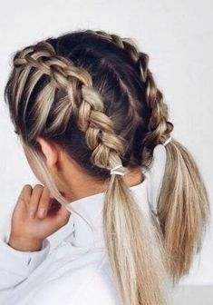 28 Braided Pigtail Braids for Short Hair You Will Love for Braided Pigtail Braids for Short Hair Hairstyles with beautiful weaving look elegant and romantic, they reveal all the beauty of a woman's face and em…, Braids Hairstyles Heels Braided Hairstyles For Teens, Super Easy Hairstyles, Cool Braid Hairstyles, Pigtail Hairstyles, Cute Hairstyles For Medium Hair, Different Hairstyles, Hairstyles Videos, Hairstyle Short Hair, Hairstyles For Medium Length Hair Easy