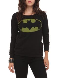 DC Comics Batman Girls Pullover Sweatshirt. Im more of a superman fan but this is awesome! #hottopic