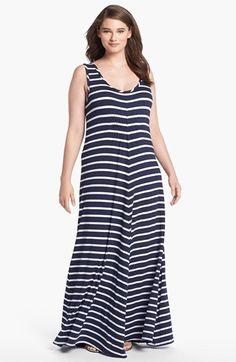 3b751320011fe LAmade Stripe Jersey Maxi Dress (Plus Size)