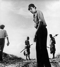 Kurosawa, Shimura, and Mifune on the set of Seven Samurai.