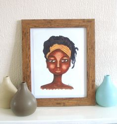 Girl with a Headband Artwork Print 9 x 7 inches. £12.00, via Etsy by Stacey-Ann Cole