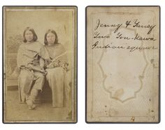 Title: Jenny and Tansy, Two Ton-kawa squaws           Creator: Shuster, H. S. [attrib.]      Date: ca. 1865-1872  Part Of: Lawrence T. Jones III Texas photography collection  Physical Description: 1 photographic print on carte de visite mount; 10 x 6 cm.           File: ag2008_0005_2_7_11_c_jenny_opt.jpg    Rights: Please cite DeGolyer Library, Southern Methodist University when using this file. A high-resolution version of this file may be obtained for a fee. For details see the…