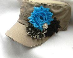 Sombrero marrón womens teal flor sombrero por LaBellaRoseBoutique