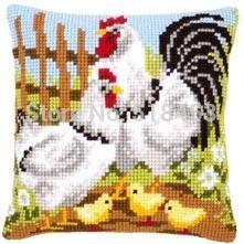 Aliexpress.com: Comprar Tapiz de la lona almohadas de Color impresa lienzo de punto de cruz establece almohadas decorativas agujas de tejer gallo y la gallina amor de almohada botones fiable proveedores en Mosbon Distribution Limited