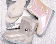 "UGG introduces the ""I DO"" Wedding Collection, featured styles: Classic Sparkles I Do!, Bailey Button I Do!, and the Fluff Flip Flop I Do! Winter Wedding Ideas"