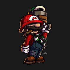 Shop Combat Mario (for dark color shirts) mario t-shirts designed by LinesOfCharacter as well as other mario merchandise at TeePublic. Super Mario Kunst, Super Mario Art, Super Mario World, Cartoon Kunst, Cartoon Art, Nintendo, Graffiti Characters, Graffiti Drawing, Geek Games
