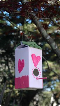 Make a Birdhouse out of a cardboard or plastic milk carton, chopsticks or dowel for perch, twine or bent hanger to hang birdhouse, & craft sticks cut down for shingles.