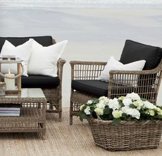 Black . White & Weathered Brown wicker .