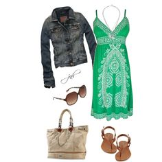 Green Summer Dress, created by jill-hammel on Polyvore