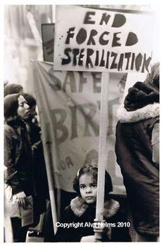 Anti-sterilization abuse protest, photo by Alva Nelms