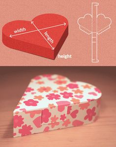Completely custom sized template for a Heart Shaped Box. This website has tons of templates for boxes and envelopes. Diy Gift Box, Diy Box, Gift Boxes, Valentines Day Activities, Valentines Diy, Diy And Crafts, Paper Crafts, Box Patterns, Explosion Box