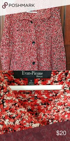 Evan Piccone Button Sweater Beautiful and soft sweater that buttons down the front. Coral, black, peach and white colors Evan Picone Jackets & Coats Blazers