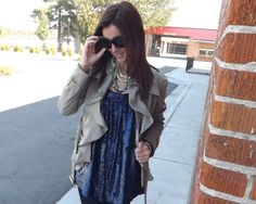 My Fancy Pants...Sequins and a ruffle trench
