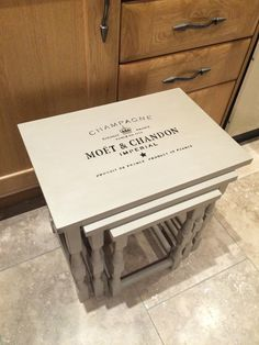 Nest of tables in Annie Sloan country grey with Moët stencilling