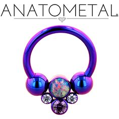"""7/16"""", 14ga Circular Barbell with Captive Gem Cluster in ASTM F-136 titanium, anodized blurple; synthetic Opal #38, Lavender CZ and synthetic Amethyst gems"""