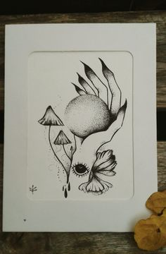 #draw  #blackart #fairyart   #cordulia #line #fineline #organic #plants #fae #faery #mushroom #hand #eye