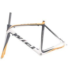 Wiel B111 Carbon Fiber Bicycle Frame 700c 52cm Road Bike Frameset - 3k Matt Yellow White