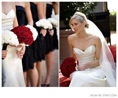 This is really pretty, white bouquets with black dresses. The bride's red bouquet really stands out.