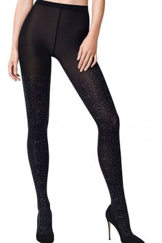 c8c2ceed1382a6 Wolford Luna Star Studded Tights 14694 Black Opaque Tights, Grey Tights,  Black Pantyhose,