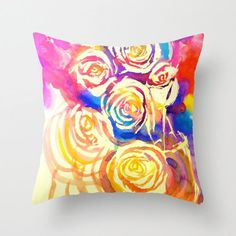 Bright Abstract Watercolor Roses Pillow Cover. Pretty Hot pink, Royal Blue, Yellow and Purple tones add color with a painterly twist.