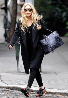 Ashley Olsen // long wavy hair, tort cat-eye sunglasses, black trench, croc tote bag, leggings & sneakers #style #fashion #olsentwins